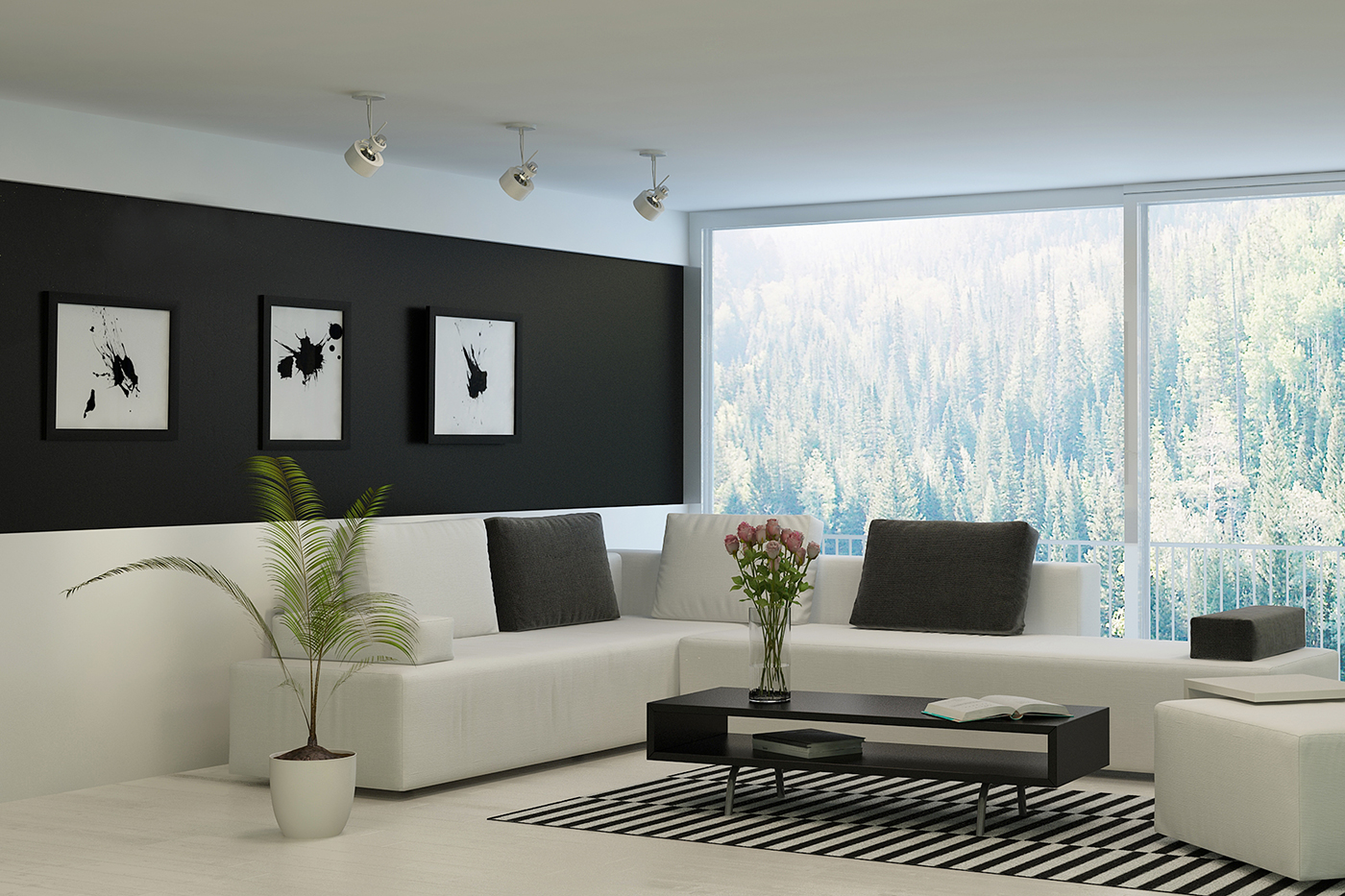 Black painted walls design decoration for Images of interior painted walls
