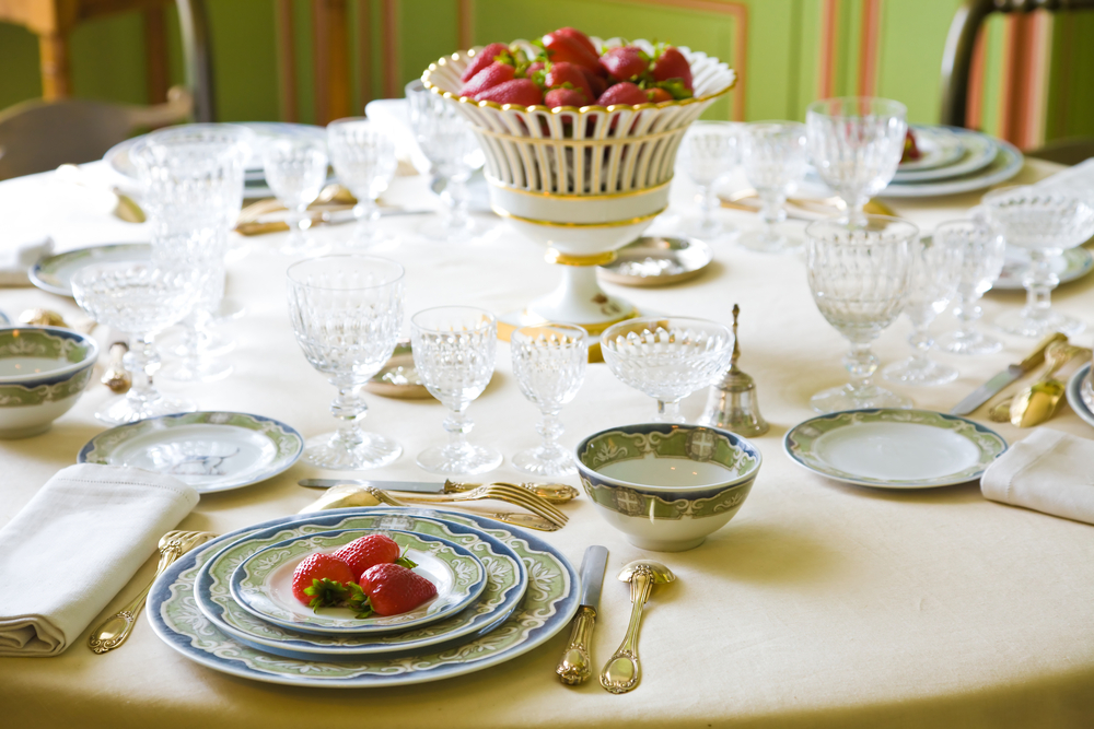 Vintage place setting with strawberries