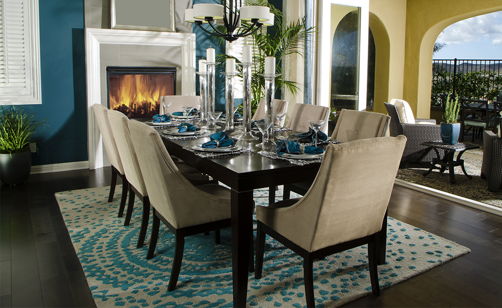 Dinning room Interior with blue accents