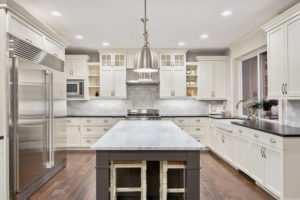white and steel kitchen interior