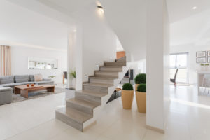 Minimalistic spacious house interior with two floors