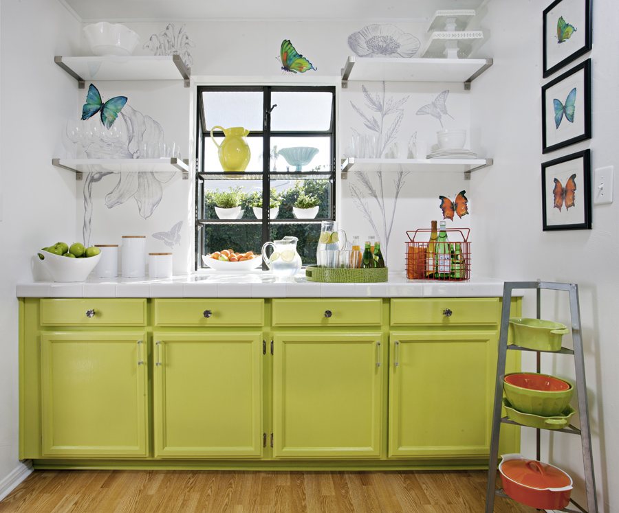 Try adding interest with candy-color cabinets